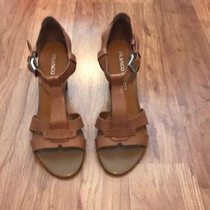 Franco Sarto tan chunky heal sandal.
